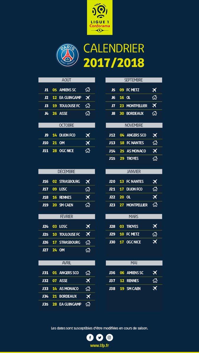 Calendrier Ligues Des Champions.Ligue 1 2017 2018 Le Calendrier Complet Du Psg Vipsg