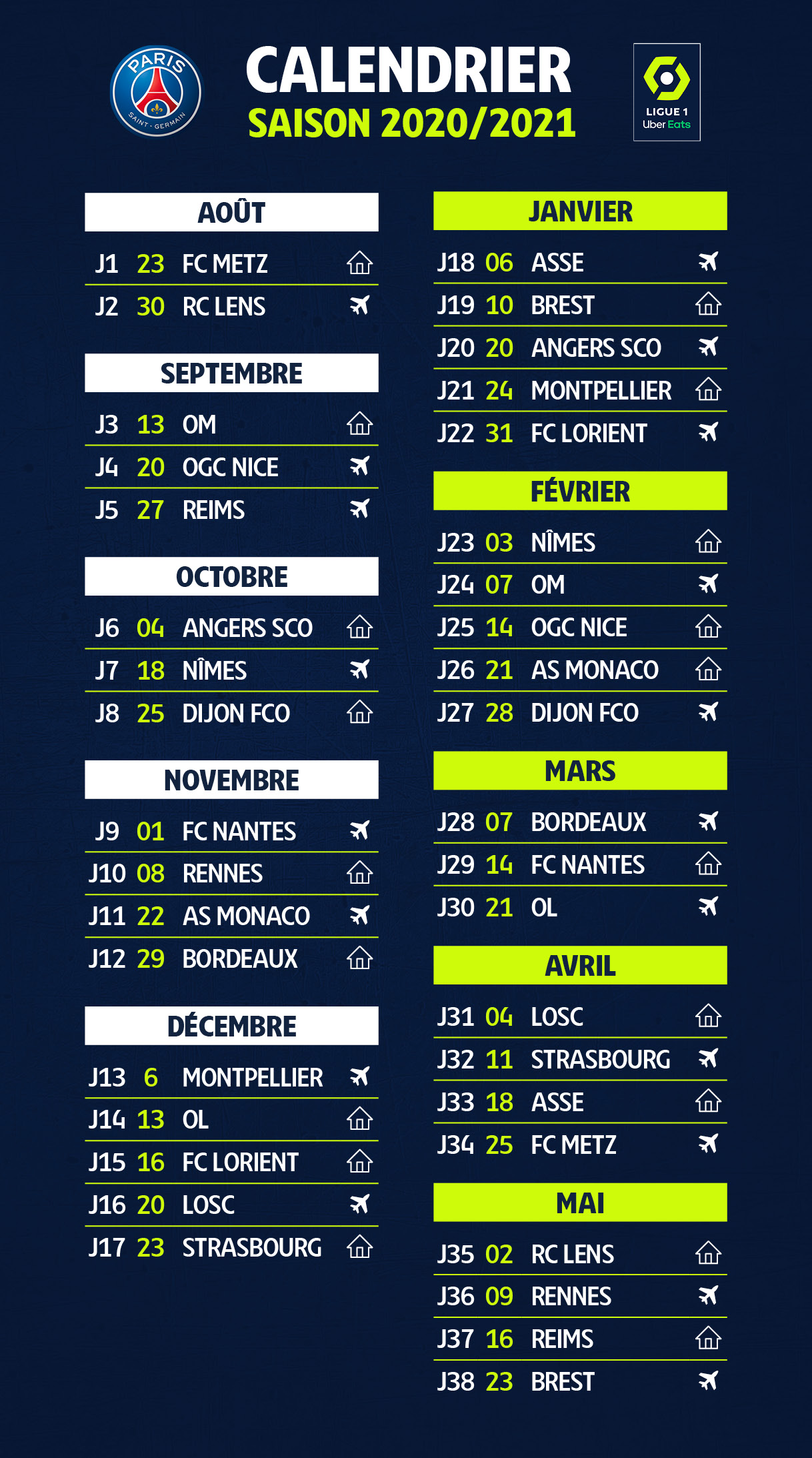L1 2020 2021 Calendrier PSG   VIPSG